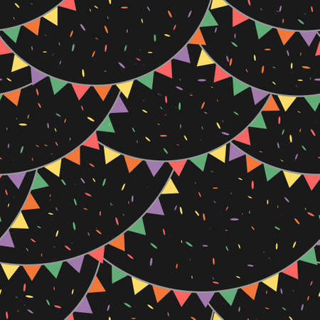 Colorful garland with confetti rain in the night pattern. Vector seamless pattern design for textile, fashion, paper and wrapping.