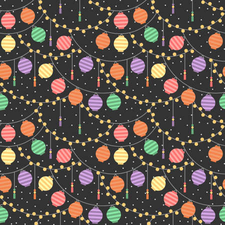 Colorful paper lanterns festival at night pattern. Vector seamless pattern design for textile, fashion, paper and wrapping.