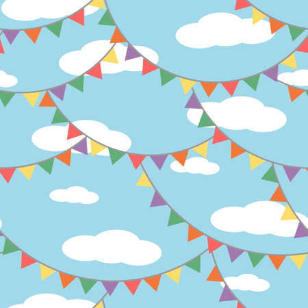 Colorful paper lanterns summer day festival pattern. Vector seamless pattern design for textile, fashion, paper and wrapping