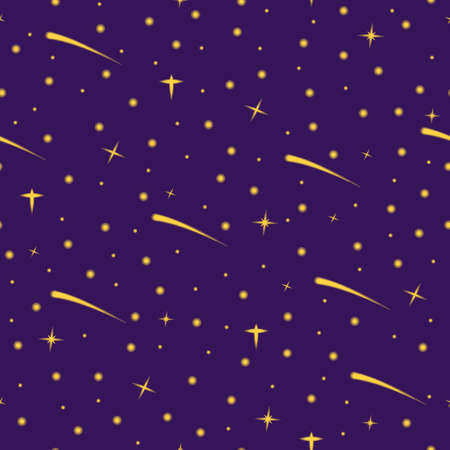 Magical night sky with shooting stars pattern. Vector seamless pattern design for textile, fashion, paper and wrapping. Stock Illustratie