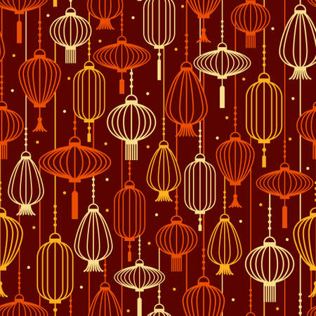 Paper lanterns outline silhouette in warm colors pattern. Vector seamless pattern design for textile, fashion, paper and wrapping.