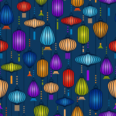 Colorful lanterns hanging verticaly pattern. Vector seamless pattern design for textile, fashion, paper and wrapping.