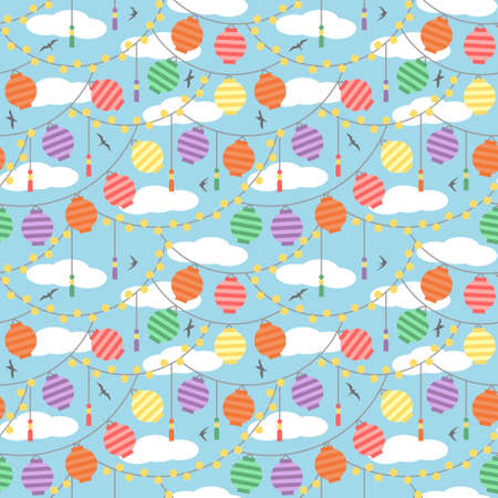 Colorful paper lanterns summer day festival pattern. Vector seamless pattern design for textile, fashion, paper and wrapping.