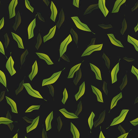 Falling jungle leaves dark pattern. Vector seamless pattern design for textile, fashion, paper, packaging and branding. Stock Illustratie
