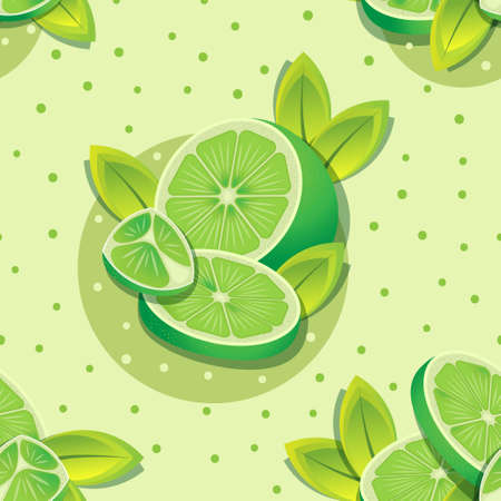 Cute sliced lemons and leaves on green dots pattern. Vector seamless pattern design for textile, fashion, paper, packaging and branding.