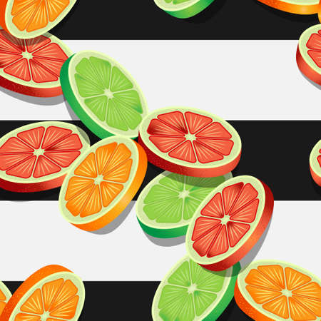 Falling slices of citrus fruits on black and white striped pattern. Vector seamless pattern design for textile, fashion, paper, packaging and branding.