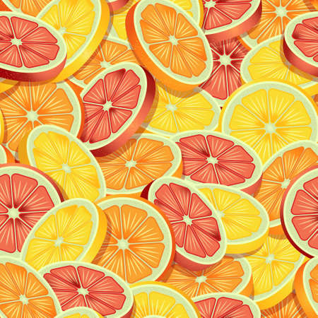 Sliced citrus fruits pattern of lime, orange and grapefruit. Vector seamless pattern design for textile, fashion, paper, packaging and branding. Stock Illustratie