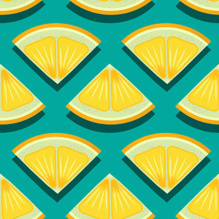 Summer yellow limes sliced in triangles on blue pattern. Vector seamless pattern design for textile, fashion, paper, packaging and branding.