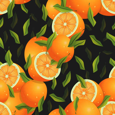 Orange fruits full and halved harvest with falling leaves pattern. Vector seamless pattern design for textile, fashion, paper, packaging and branding.