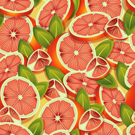 Tropical grapefruits halved and sliced pattern. Vector seamless pattern design for textile, fashion, paper, packaging and branding. Stock Illustratie