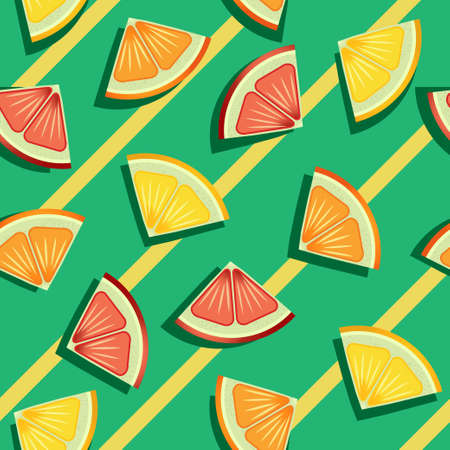 Citric fruits sliced in triangles pattern on yellow and green striped pattern. Vector seamless pattern design for textile, fashion, paper, packaging and branding.