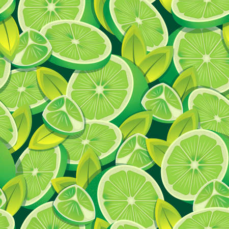 Citrus green lemon fruits halved and sliced pattern. Vector seamless pattern design for textile, fashion, paper, packaging and branding. Stock Illustratie