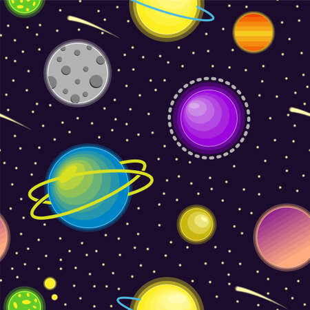 Colorful planets in the galaxy pattern. Vector seamless pattern design for textile, fashion, paper, packaging and branding. Stock Illustratie