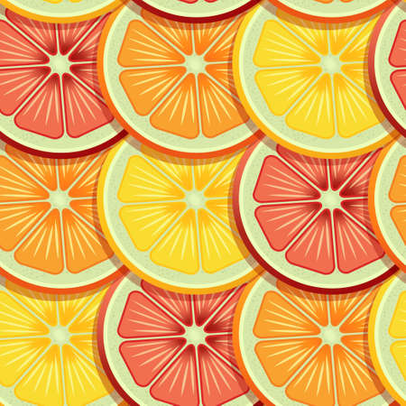 Rows of Sliced critics like orange, lime and grapefruit pattern. Vector seamless pattern design for textile, fashion, paper, packaging and branding.
