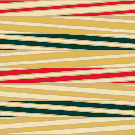 Stripe pattern inspired in vintage fashion lines in red gold and green. Vector seamless pattern design for textile, fashion, paper, packaging, wrapping and branding