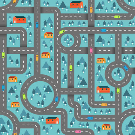 Cute road map in winter blue pattern for children inspired in the countryside landscape. Vector seamless pattern design for textile, fashion, paper, packaging, wrapping and branding Vektorgrafik