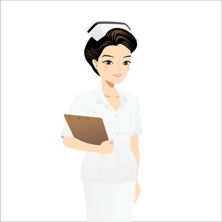 medical assistant: Enfermera mayor que sostiene portapapeles Vectores