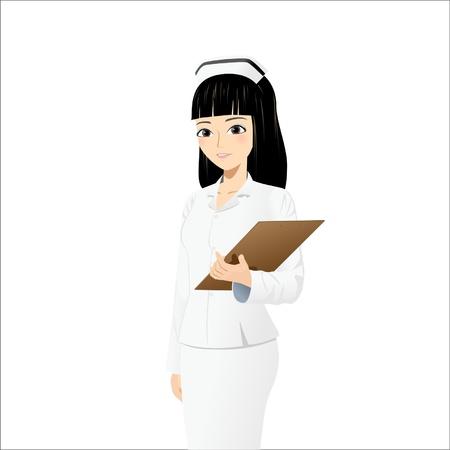 hospital cartoon: Bella infermiera in possesso di appunti