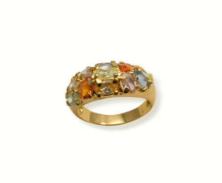 Golden ring with multicolor  jewel gems Stock Photo - 408466