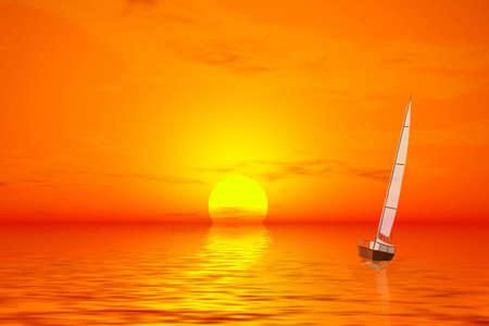 Lonely sailer on the sunset photo