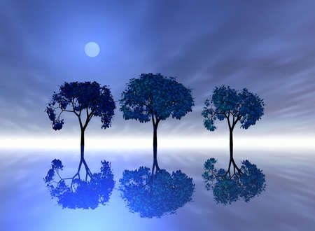Evening. Abstraction illustration with sea and trees Stock Illustration - 569359