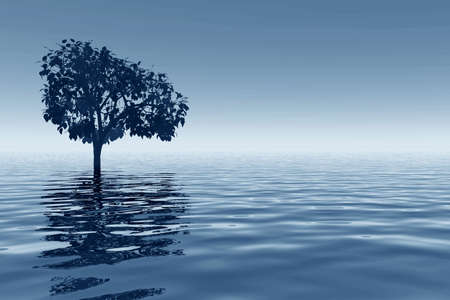 Abstraction landscape with tree and ocean Stock Photo - 569356