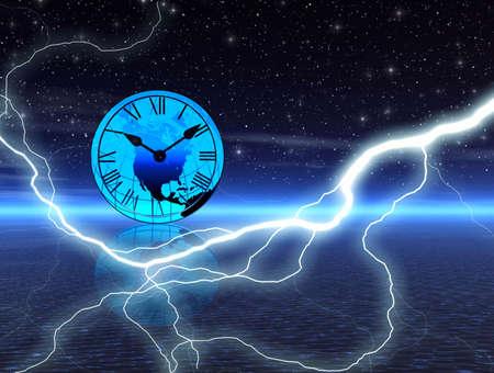 Night time. Lightning photo