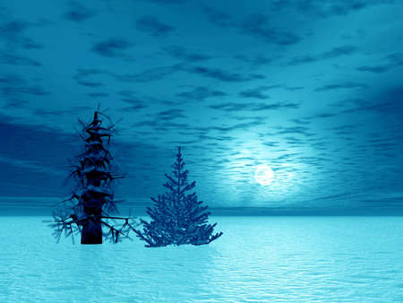 Two Christmas trees in arctic Stock Photo - 590942