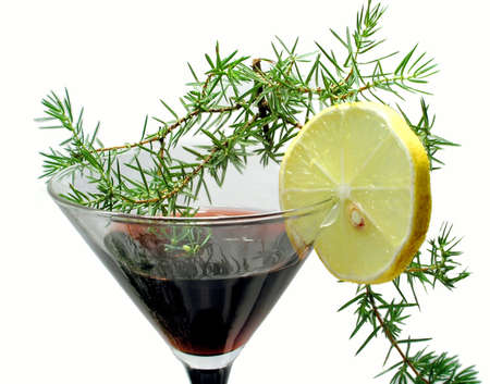 New years invitation card. Wine and lemon Stock Photo