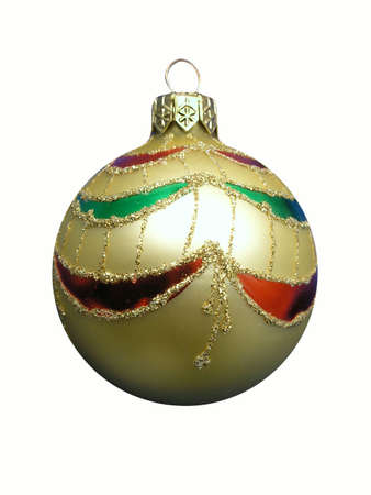Christmas golden ball, isolated on white photo
