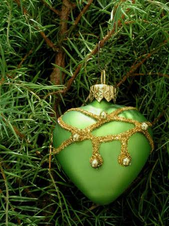 Chrismas tree with green heart Stock Photo - 602914