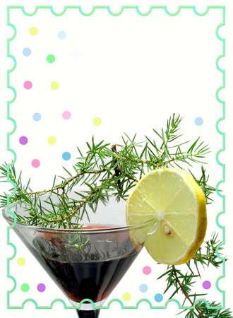 chads: New years  card. Wine and lemon Stock Photo