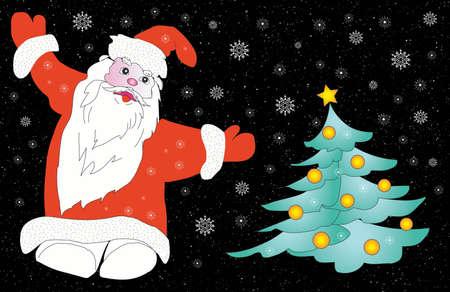 fib: Christmas  Santa Claus and snowflakes