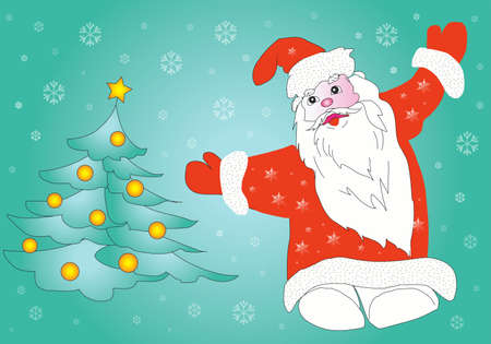 Santa Claus and Christmas tree photo