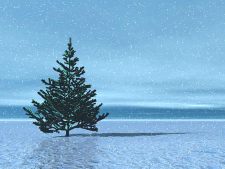 Lonely Christmas tree in arctic. Stock Photo - 609559