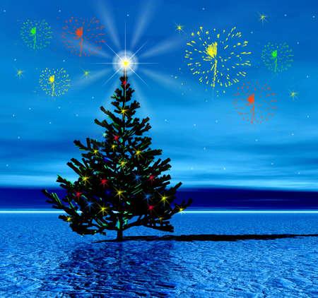 Christmas tree. Fireworks Stock Photo - 609561