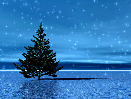 Lonely Christmas tree in snow photo