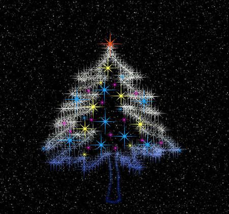 Night. Light of Christmas tree Stock Photo - 613873