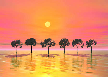 repulse: Rosy sunrise Stock Photo