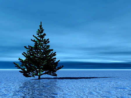 Lonely Christmas tree in arctic. Illustration illustration