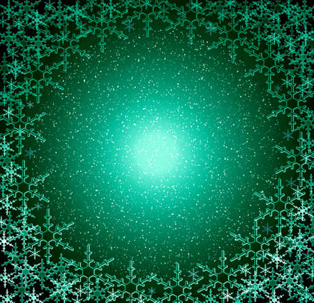 Christmas green round snow frame. Glow snowflakes Stock Photo