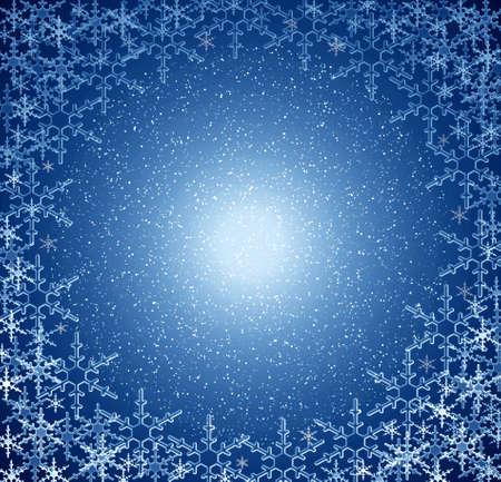Christmas blue snow frame. Stock Photo - 636701