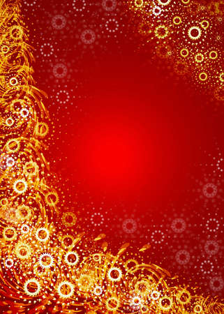 Christmas red background. Golden snowflakes Stock Photo - 636948