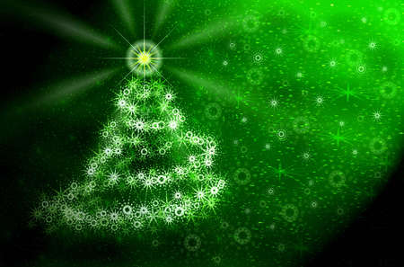 Christmas green tree of snowflakes photo