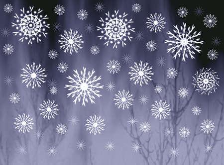 misty: Snowflakes on misty grey background