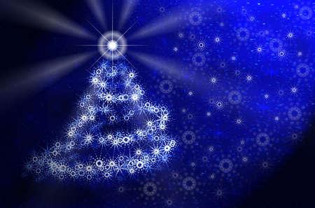 Christmas tree in magic light. Blue Christmas card photo