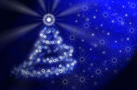 digital paint: Christmas tree in magic light. Blue Christmas card