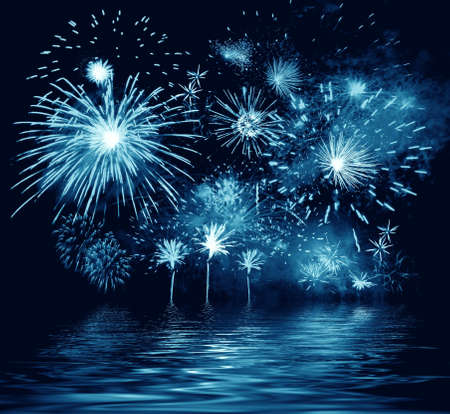 Night firework and reflection in water. Illustration