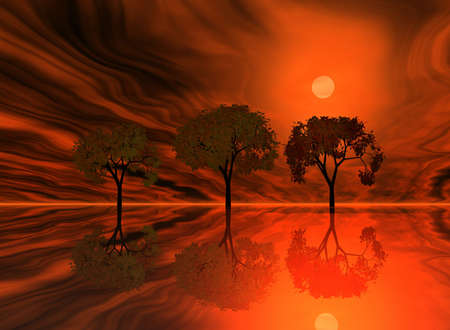 repulse:  Red sunset. Abstraction landscape with trees and ocean. Stock Photo