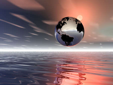 fantastic world: Sunsrise. Planet Earth and water. Illustration